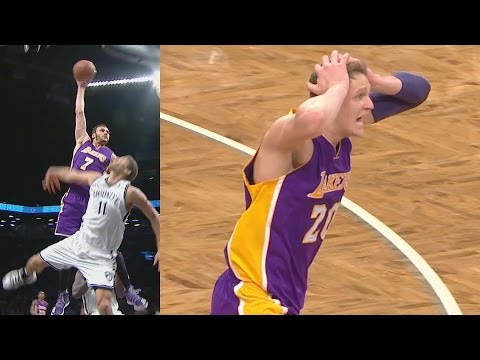 Larry Nance Jr Dunks on Brook Lopez! Mean Poster! Lakers vs Nets