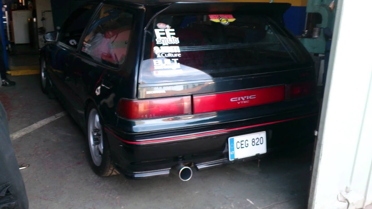 H2B EF Civic - exhaust - YouTube