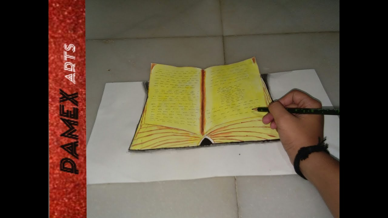 How to draw 3d book||drawing 3d open book||how to draw book