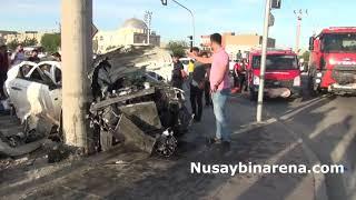 Nusaybin'de iki otomobil çarpıştı 1 yaralı