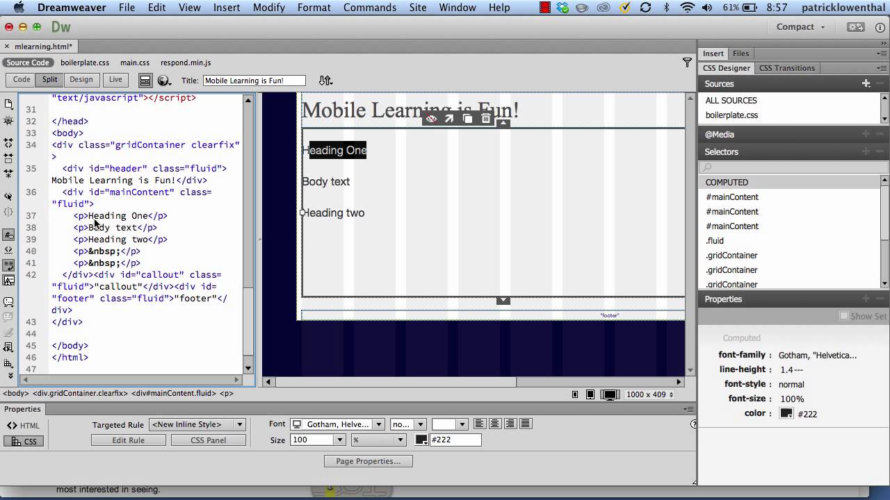... Websites with a Fluid Grid Layout using Dreamweaver CC - YouTube