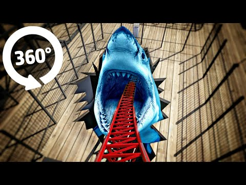 VR 360 Video MEGALODON Roller Coaster Ride   4K Virtual Reality
