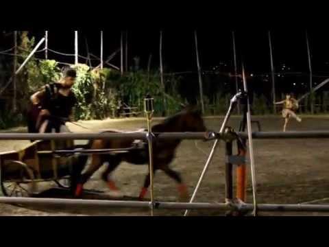 """Antica Roma, Mattia Cinzia e Franz 2014 """" Spettacolo Equestre con biga romana """""""