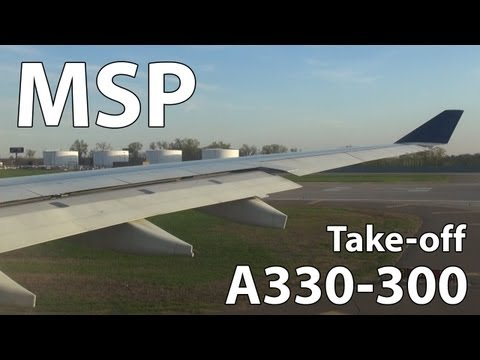 Delta Airlines A330 Taxi and Take-off from Minneapolis St. Paul   HD