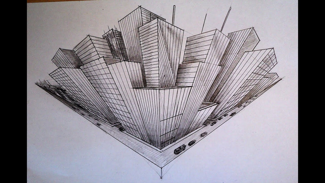 How to draw three point perspective highrise buildings city