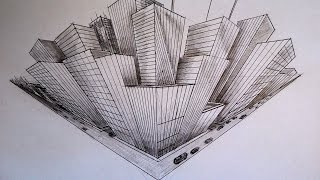 How to draw - three point perspective - high-rise buildings - city