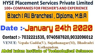 Mega Job Mela in Kothagudem For IT Non IT Core Jobs to B.Tech , MBA, diploma by hyse placements