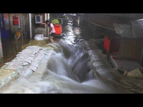 New river in the city! Strong Storm floods the streets of Murcia (Yecla), Spain.