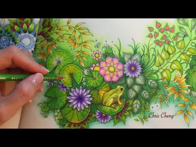 - SECRET GARDEN Prince Frog's Magical Pond Coloring With Colored Pencils  - YouTube