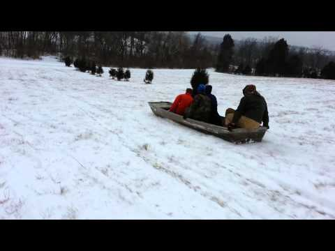 Red neck john boat bob sledding