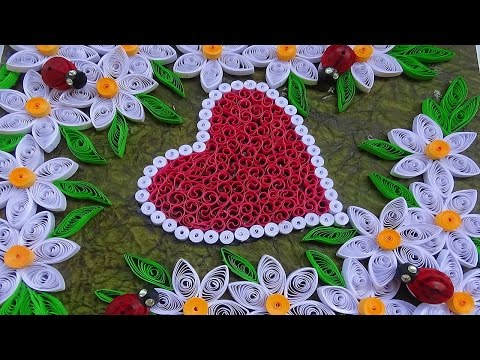 ☑️Quilling designs making ❤ heart shaped Greeting card with flowers ⏭ Paper Quilling Art⏮