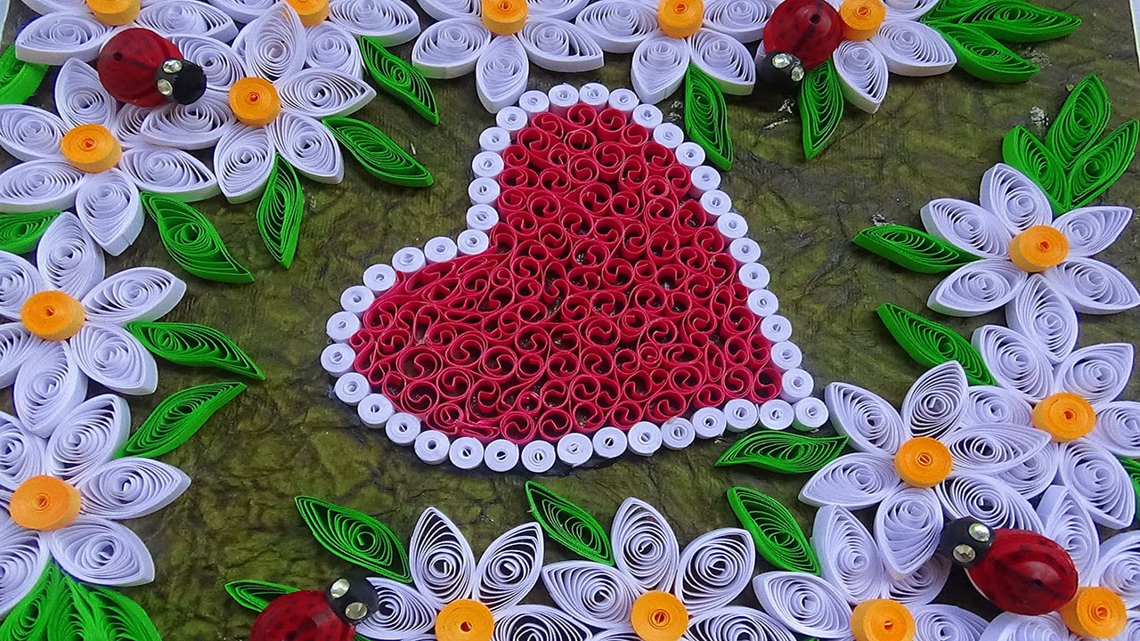 ☑️Quilling designs making heart shaped Greeting card with ...