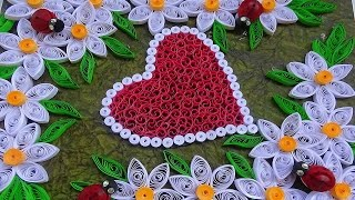 Quilling   How to make Valentine's Day or Birthday card with wonderful White flowers and hearts