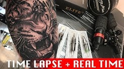 Tiger portrait - Tattoo time lapse + Normal speed