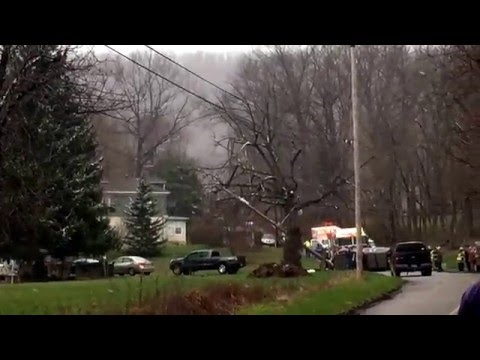 Car accident Schuylkill county Barnesville, Pa. Suv hits pole with entrapment. Drone seen filming.