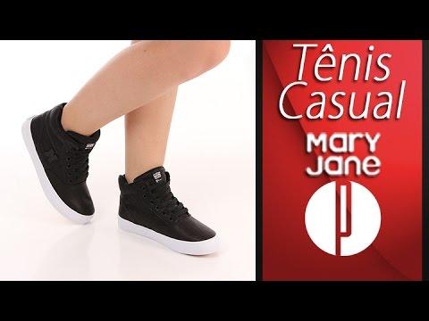 173d07897b Tênis Casual Feminino Mary Jane High School Couro - 7240163212 - YouTube