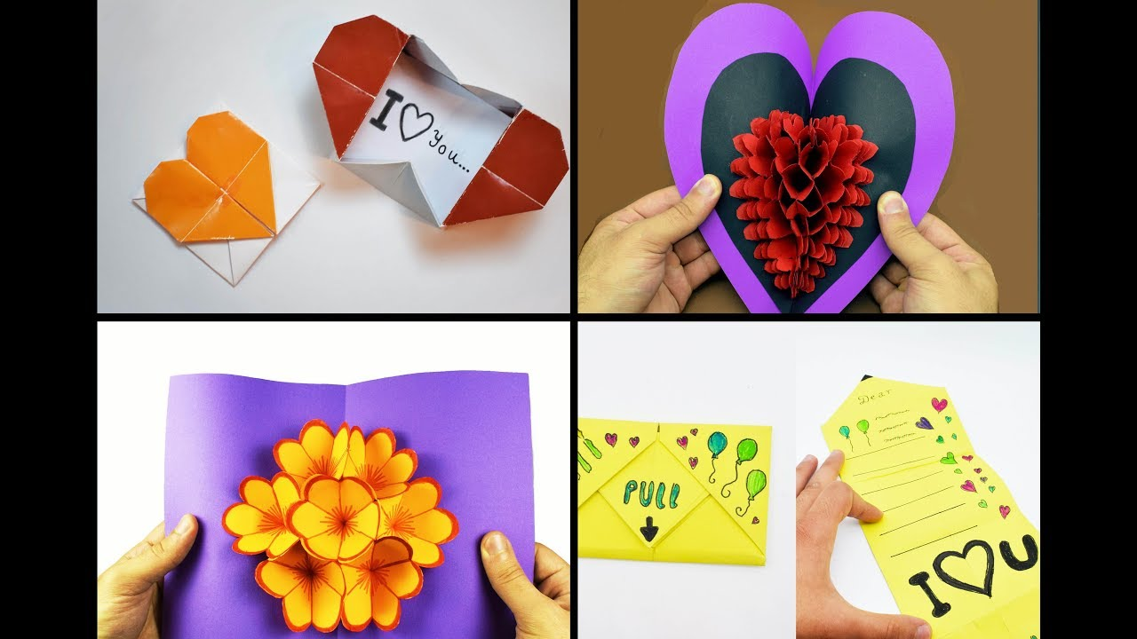 4 easy origami cards ideas  craft paper art  youtube