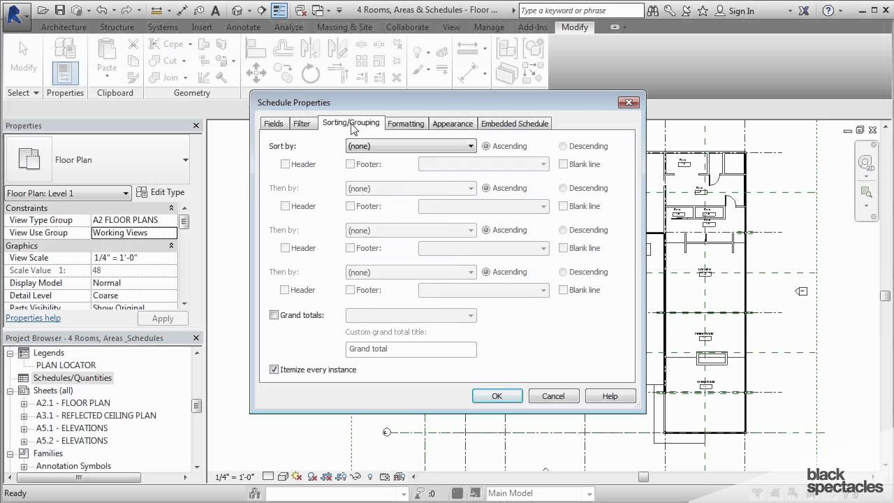 Revit 2015 Tutorial Creating A Room Schedule Black