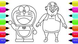 Draw Doraemon and Motu Patlu Characters Cartoon Coloring for Kids Learn Drawing