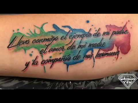 Demian Art Tattoo Studio Tatuaje De Frase Y Acuarela Youtube