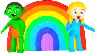 Kids Having Fun Learning Rainbow Colors  Cartoons For Kids