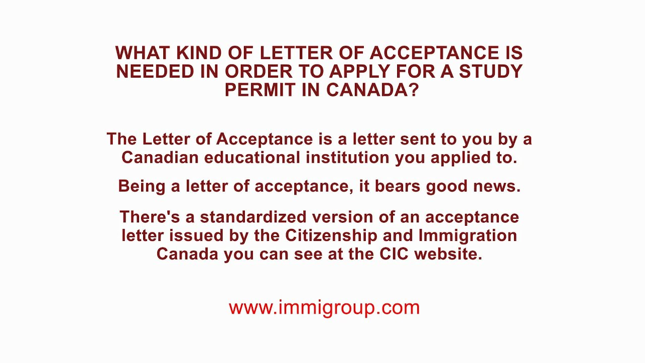 What kind of letter of acceptance is needed in order to apply for what kind of letter of acceptance is needed in order to apply for a study permit in canada altavistaventures Images