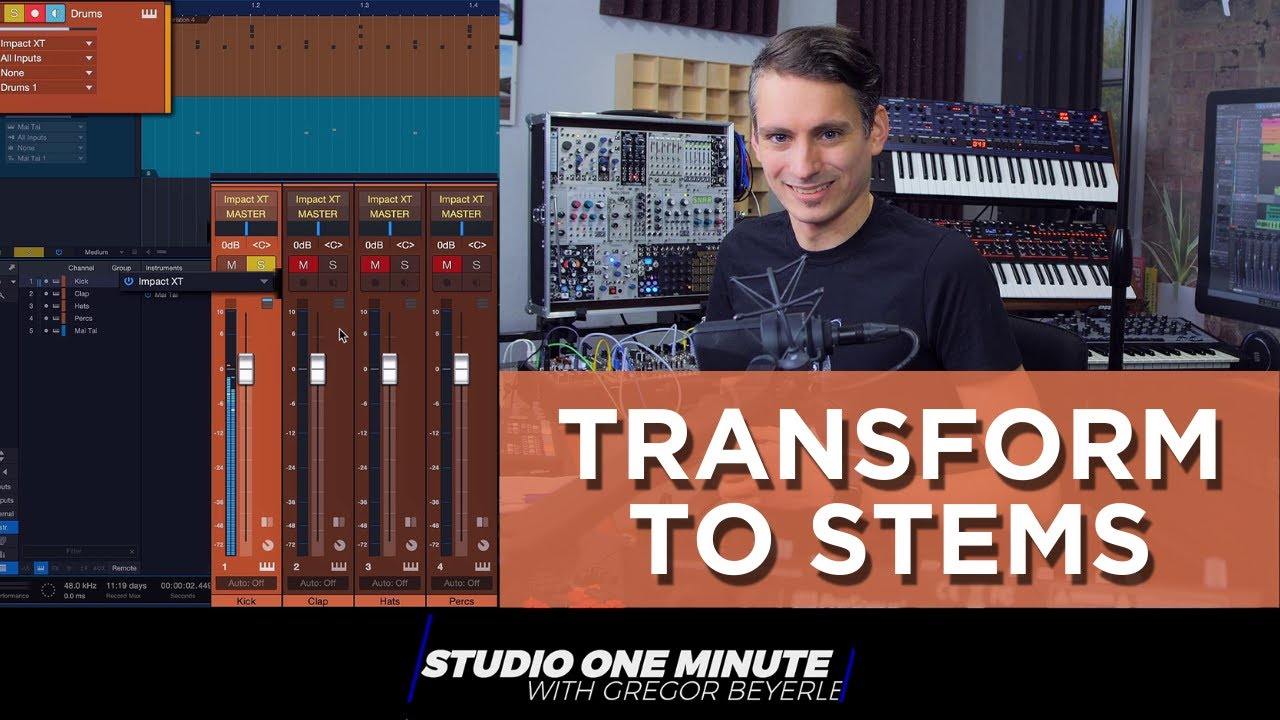 Transform a Multi Channel Instrument into Audio Stems #StudioOneMinute