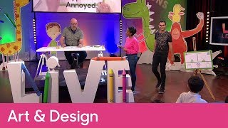 How to draw annoyed and surprised expressions | Primary Art and Design - CBeebies Pablo Live Lesson