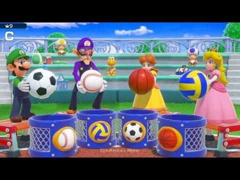 Super Mario Party - All Co-op Minigames - Team Peach| Cartoons Mee