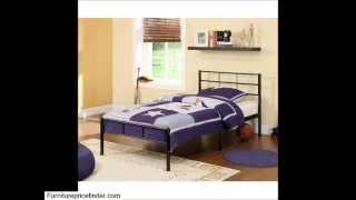 Walker Edison Twin Metal Bed Frame, White