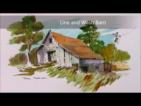 Line and Wash Watercolor Barn Demonstration. Redone in Real-time. Peter Sheeler