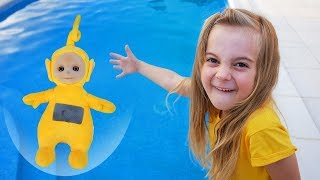 Teletubies rescued from the pool