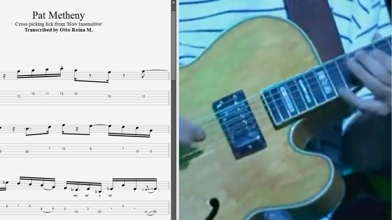 Pat Metheny - Cross picking lick from 'How Insensitive' - Best lick  (animated tab - Fast & slow)