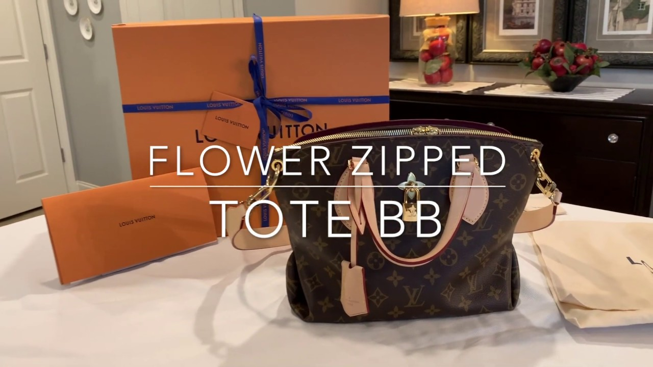 1fe16642c3dc Louis Vuitton Flower Zipped Tote BB Natural - YouTube