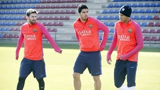 FC Barcelona training session: FC Barcelona start training for El Clásico