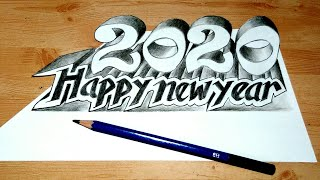 How to draw 2020 3D Drawing 2020 2020 happy new year trending