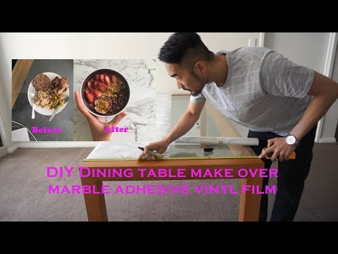 DIY Dining table makeover marble adhesive vinyl film