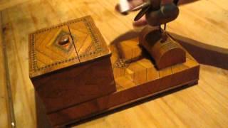 Vintage Bird Cigarette Dispenser Wood Unique Unusual Antique Smoking Machine Uk
