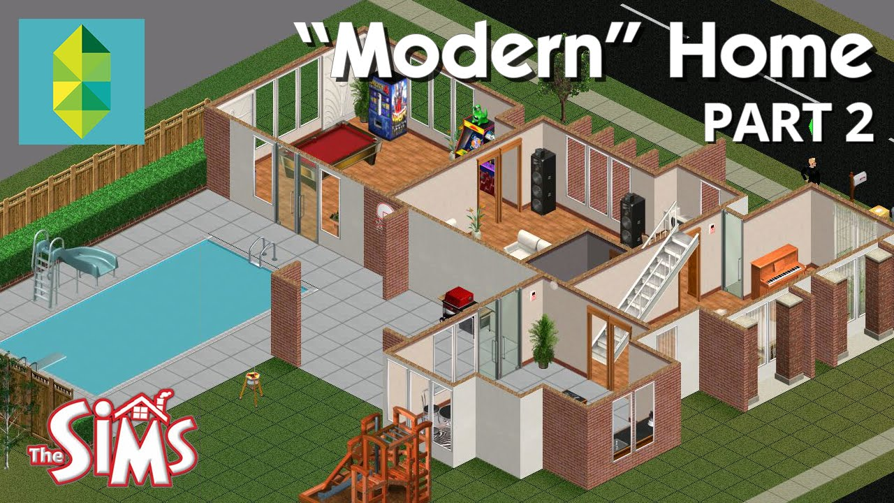 Let 39 s build a modern home in the sims 1 part 2 youtube for Modern house 6 part 2