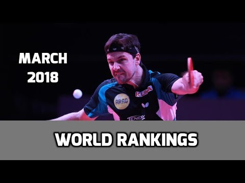 Table Tennis World Rankings March 2018