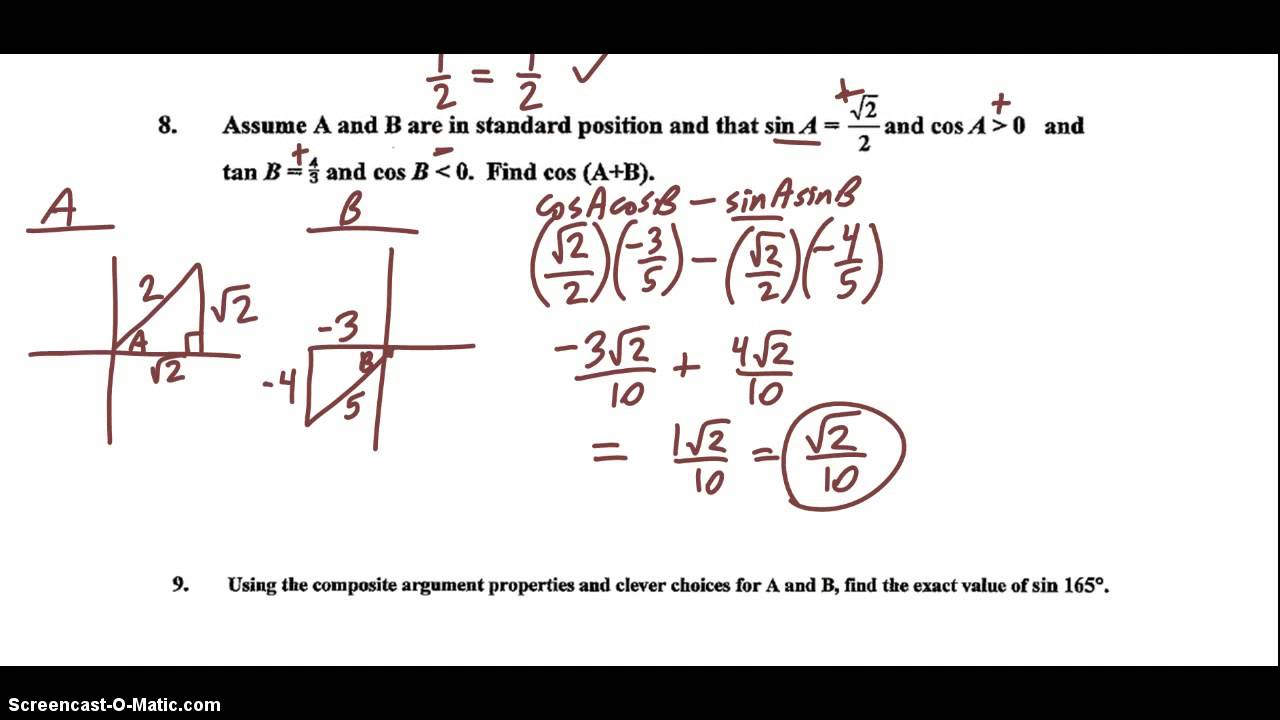 trigonometry ch review part  trigonometry ch 3 review part 1