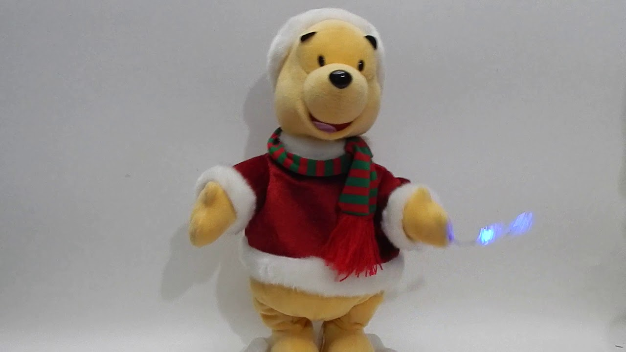 gemmy winnie the pooh christmas deck the halls snowflake lights figure disney