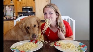Who Eats It Faster? My Dog Or Me? FOOD EATING CONTEST