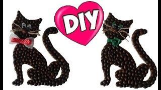 🐱 Магнит на холодильник «Кот» из кофейных зёрен/ Как сделать своими руками/ Cat-magnet