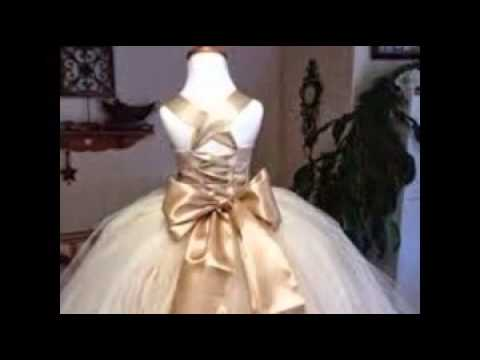 6db30151b5a4 champagne colored flower girl dresses - YouTube