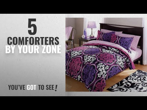 Top 10 Your Zone Comforters [2018]: Your Zone Dotted Damask Bedding Comforter Set, Purple - TWIN
