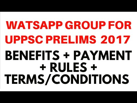 Watsapp Group for UPPSC  Prelims 2017 - Terms + Conditions + Payment + Benefits - 7838692618