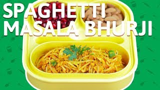 Spaghetti Pasta with Egg Bhurji - Vegetable Spaghetti Pasta - Fusion Recipe For Kids Tiffin Box