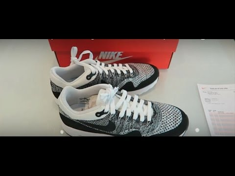 5f06994185 ... Смотреть видео HD Close Up Unboxing Nike Air Max 1 Flyknit Oreo онлайн,  ...