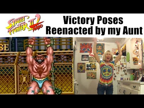 Street Fighter II Turbo Victory Poses reenacted by my Aunt